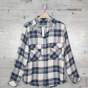 NWT Sanctuary Tru Blu Plaid Boyfriend Shirt